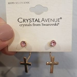Swarovski Crystal Cross Earrings